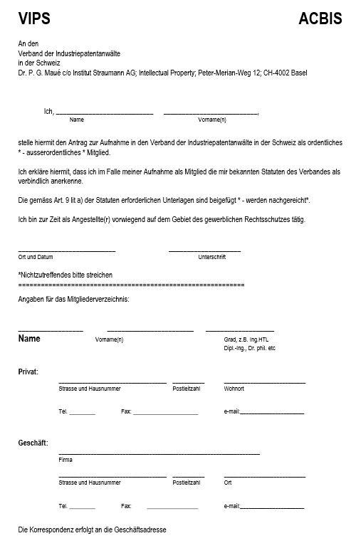 Vorschau Aufnahmeantrag Seite 1
